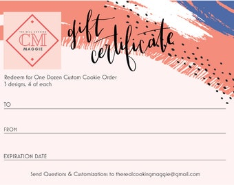 Gift Certificate - Custom Cookies (3 Designs)