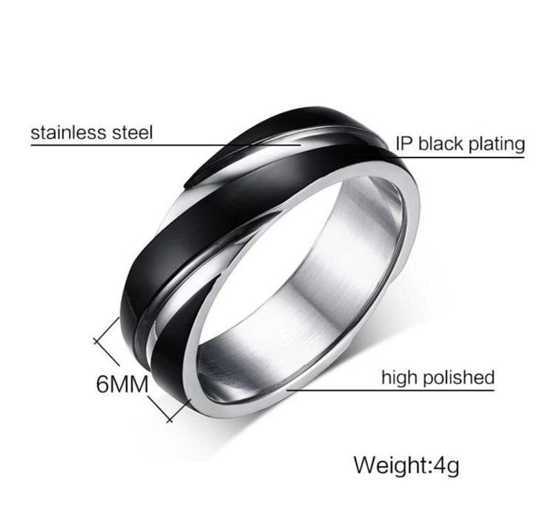 Men/'s Stainless Steel Band Ring 6MM