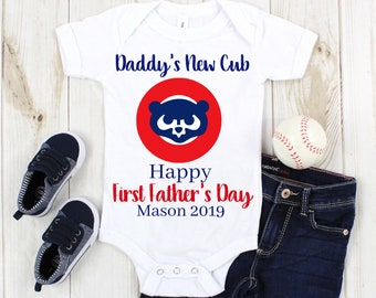 57f045bb8 Personalized CHICAGO CUBS Baby First Father's Day -Chicago Cubs Father's  Day Baby Bodysuit-Personalized Chicago Cubs Infant Romper
