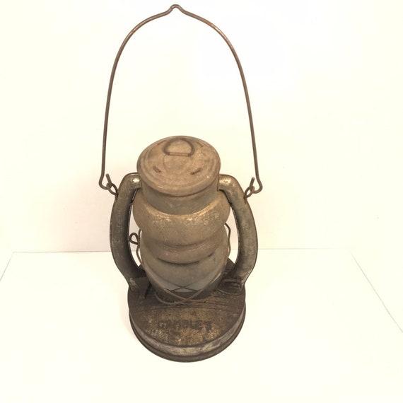 Antique Old Iron Gambles Artisan Kerosene Lamp Lantern Usa Etsy