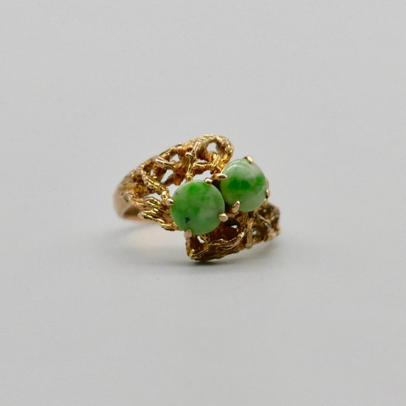 1970s Gold and Jadeite Ring. Unmarked