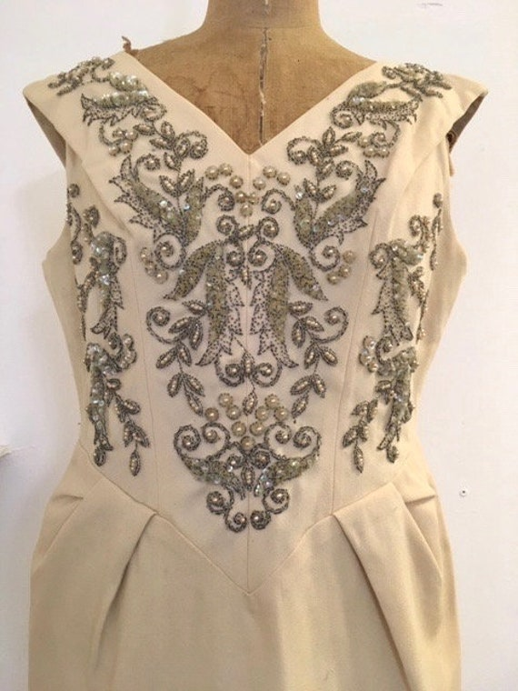 1950's Roter Couture, wool, beaded shift dress.