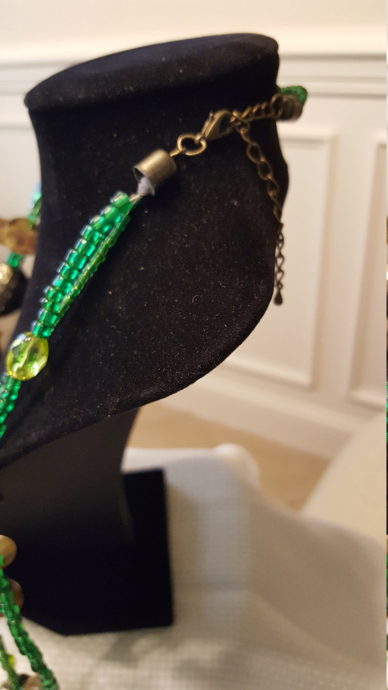 Green bead necklace sequins glass seed beads shell accents vintage bead cluster earrings