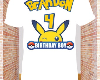 bcefef77 Pokemon Iron on Transfer Shirt-Printable Birthday Pikachu Pokemon Shirt for  family -Pokemon Pikachu party decoration-DIGITAL IMAGE