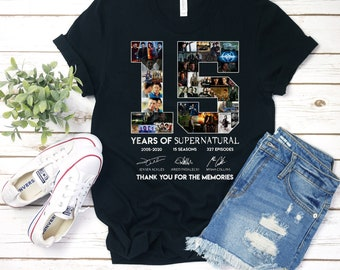 6112ddc5 15 Year Of Supernatural T Shirt For Men Idea For Fan Love Supernatural Tv  Show Supernatural T Shirt Full Size