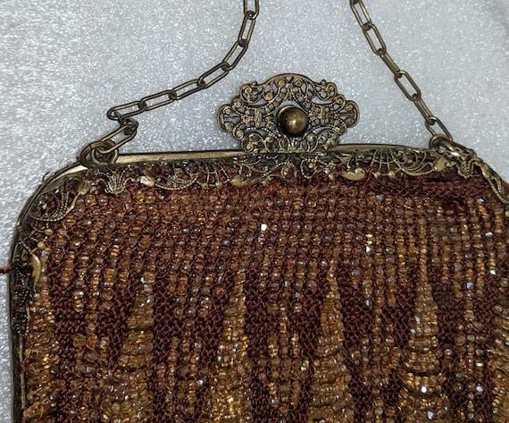 Brown Beaded Handbag  Vintage Brown Beaded Purse Hong Kong  Retro Brown Plastic Bead Handbag  Vintage Groovy Brown Beaded Handbag Purse