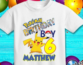 c24e6b04 Pokemon birthday shirt, personalized Pokemon Birthday Shirt,Customized birthday  party shirt,Name and Age Pokemon shirt, Pikachu birthday /66