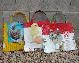 Free Shipping Upcycled Recycled Polypropylene chicken Hen Farm Feed Bag Market Tote