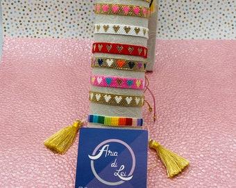 Miyuki bracelet, hearts miyuki bracelet, colorful miyuki bracelet, pride bracelet, rainbow miyuki bracelet, miyuki beads,friendship bracelet