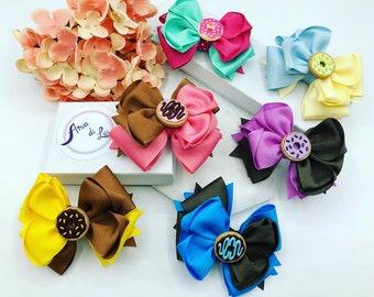 Donut hairbows, donut hairbow, donut bows, hair bows for girls, hair bows for toddlers, hair bows for babies, donut hair clips, hairbows