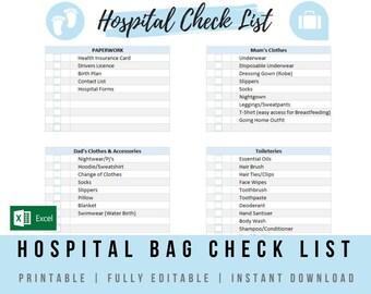 graphic regarding Hospital Bag Checklist Printable identify Clinic bag record Etsy