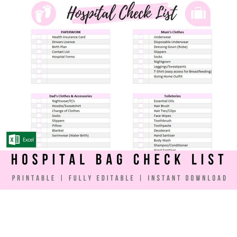 image about Printable Hospital Bag Checklist titled Clean Boy or girl Medical center Bag List Red - Excel Template Thoroughly Editable  Printable Fresh new Little one Packing Record Immediate Electronic Down load