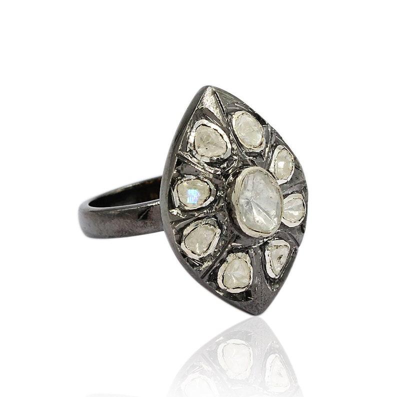 925 Silver Ring Polki Diamond Ring Polki Ring Handmade Ring Women Jewelry Oxidized Ring. Designer Ring Christmas Ring! Vintage Ring
