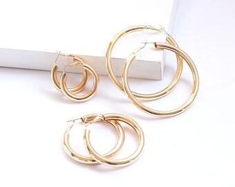 7be5f479a Set of 3 Gold Hoop Earrings | 18k Gold Plated Hoop Earrings