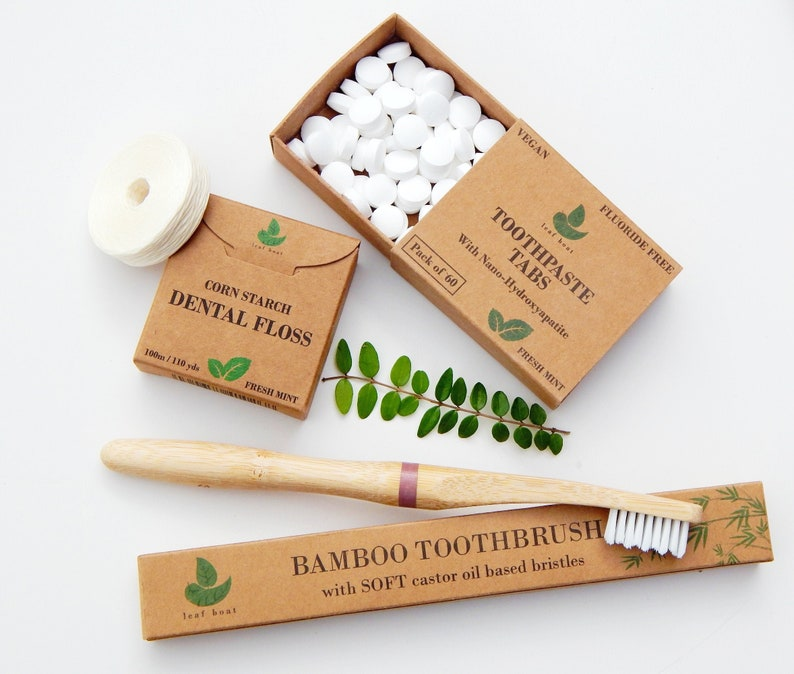 Toothpaste Tablets/ Dental Set / Bamboo Toothbrush / Dental Tabs 60, floss,brush