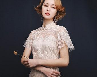 ac5fa89f229 JINYE Beige Embroidery Slim Midi Lace Modern Qipao Cheongsam Dress