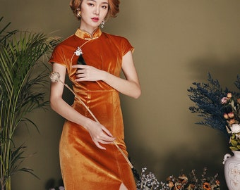 cd7a44b6e1b JINYE Oriental Apricot Yellow Raglan Sleeve Front Slit Velvet Sexy Slim Qipao  Cheongsam Dress