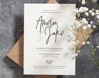 Simple  Wedding Invitation With Envelopes, Wedding Invites, Script Wedding Invite, Invitations, Personalised And Printed #107