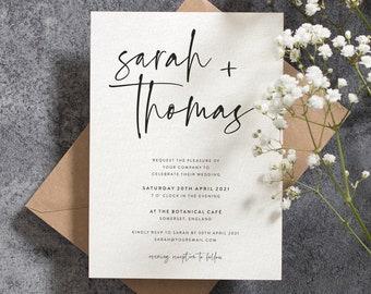 Wedding Invitation, Simple Wedding Invitation, Wedding Invitations, Elegant Wedding Invitation Set, Modern Wedding invites, Calligraphy #107