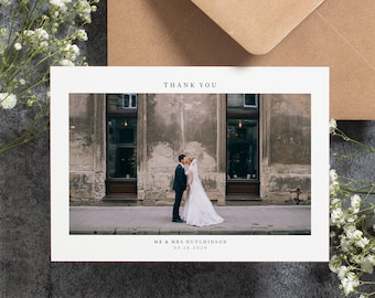 Wedding Thank You Card With Photo, Thank You Wedding Cards, Thank You Card Wedding, Personalised Thank You Cards, Thank You Photo Card #087