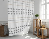 White print boho shower curtain, Gray leaves and beige leaves minimalist bohemian shower curtain, 6 dimensions