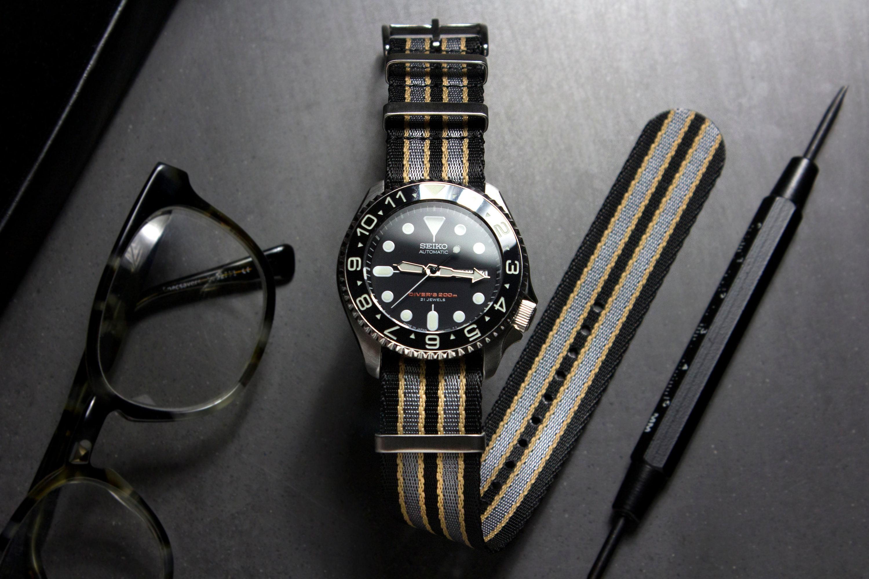 Premium Bond No Time To Die Seatbelt Watch Strap, Black Grey Yellow (20mm & 22mm)