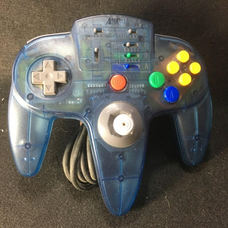 Nintendo 64 N64 Clear blue rare ascii Controller pad for Nintendo 64 N64  Clear blue rare