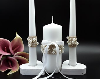Floral Wreath Candle Blush /& Gray Personalized Unity Candle Set Wedding Gift Monogram Candle Set Wedding Ceremony