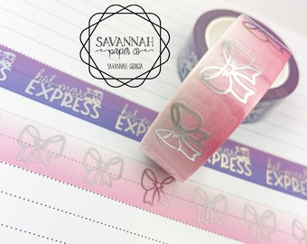 Pink Ombre Bow Foiled Washi Tape / Holo / Exclusive Design / Paper Tape / Foiled Washi / Savannah Paper Co