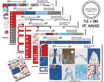 Saving Lives Weekly Kit / Full Kit / Mini Kit / Vertical Layout / Planner Stickers /  / Savannah Paper Co
