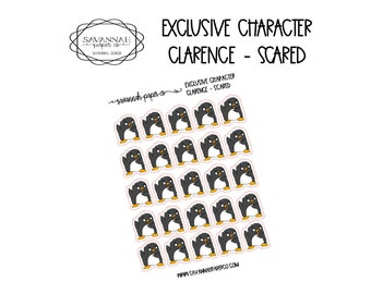 Clarence Scared / Exclusive / Hand Drawn / Character Stickers / Vertical Layout / Planner Stickers /  / Savannah Paper Co