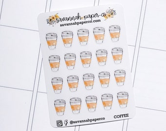 COFFEE Stickers / Coffee Sheets Icons / Functional Stickers / Vertical Layout / Planner Stickers /  / Savannah Paper Co