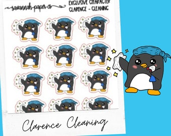 Clarence Cleaning / Exclusive / Hand Drawn / Character Stickers / Vertical Layout / Planner Stickers /  / Savannah Paper Co