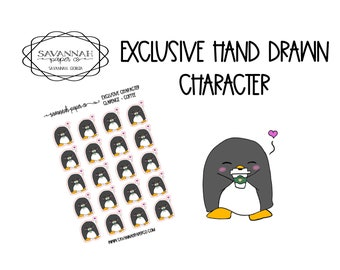 Clarence Coffee / Exclusive / Hand Drawn / Character Stickers / Vertical Layout / Planner Stickers /  / Savannah Paper Co