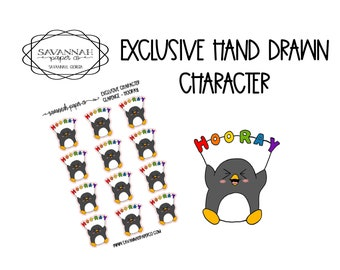 Clarence Hooray / Exclusive / Hand Drawn / Character Stickers / Vertical Layout / Planner Stickers /  / Savannah Paper Co
