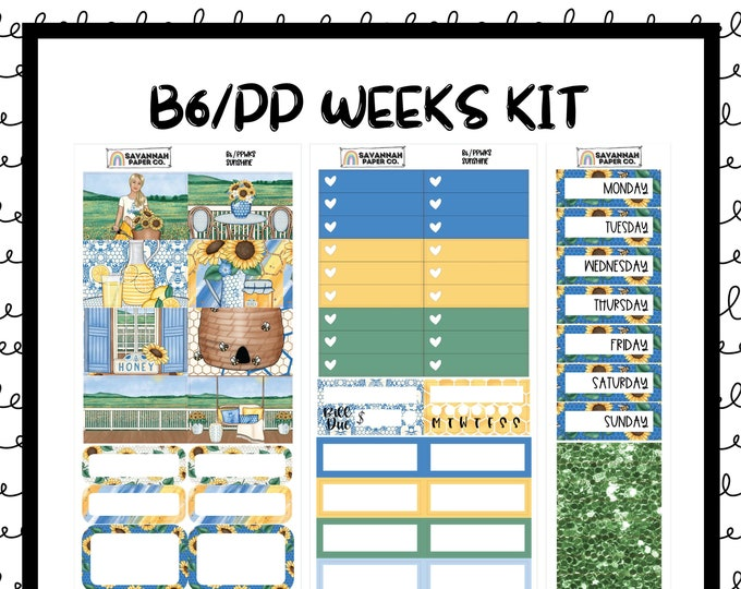 Featured listing image: Sunshine B6 PP WEEKS Weekly Kit / B6 Full Kit / Print Pression / Vertical Layout / Planner Stickers /  / Savannah Paper Co