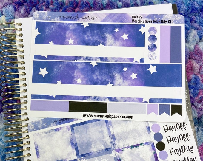 Featured listing image: Galaxy A5 Wide Monthly Kit / Full Kit / Recollections / EC / Planner Stickers  / Savannah Paper Co
