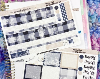 Winter Plaid A5 Wide Monthly Kit / Full Kit / Recollections / EC / Planner Stickers  / Savannah Paper Co