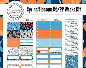 Spring Blossoms B6 PP WEEKS Weekly Kit / B6 Full Kit / Print Pression / Vertical Layout / Planner Stickers /  / Savannah Paper Co