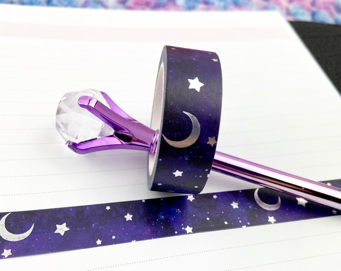 Featured listing image: Galaxy Foiled Washi Tape / Silver Foil / Moon and Stars / Exclusive Design / Paper Tape / Foiled Washi / Savannah Paper Co