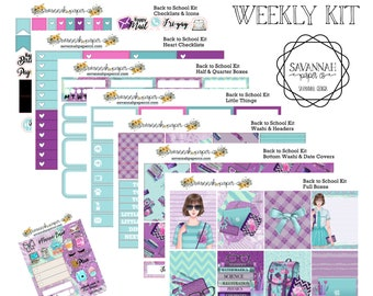 Back to School Weekly Kit / Full Kit / Mini Kit / Vertical Layout / Planner Stickers /  / Savannah Paper Co