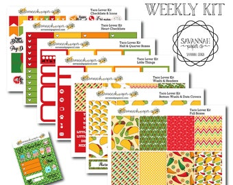Taco Lover Weekly Kit / Full Kit / Mini Kit / Vertical Layout / Planner Stickers /  / Savannah Paper Co