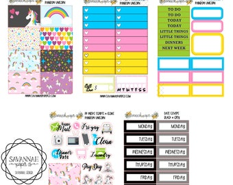 Rainbow Unicorn PP WEEKS Weekly Kit / Print Pression / Vertical Layout / Planner Stickers /  / Full Kit / Savannah Paper Co