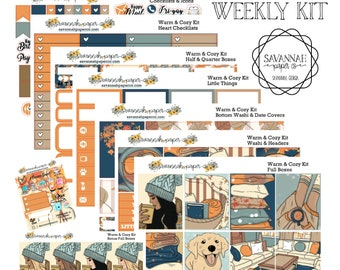 Warm and Cozy Weekly Kit / Full Kit / Mini Kit / Vertical Layout / Planner Stickers /  / Savannah Paper Co