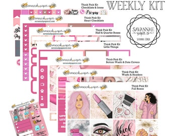 Think Pink Weekly Kit / Full Kit / Mini Kit / Vertical Layout / Planner Stickers /  / Savannah Paper Co