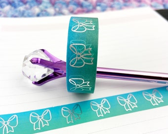 Aqua and Teal Ombre Bow Foiled Washi Tape / Silver Foil / Exclusive Design / Paper Tape / Foiled Washi / Savannah Paper Co