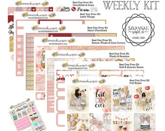 Best Day Ever Weekly Kit / Full Kit / Mini Kit / Vertical Layout / Planner Stickers / Happy Birthday Kit / Savannah Paper Co