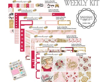 Lady in Red Weekly Kit / Full Kit / Mini Kit / Vertical Layout / Planner Stickers /  / Savannah Paper Co