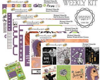 Wicked Vibes Weekly Kit / Full Kit / Mini Kit / Vertical Layout / Planner Stickers /  / Halloween /  Savannah Paper Co