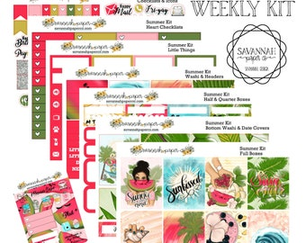 Summer Weekly Kit / Full Kit / Mini Kit / Vertical Layout / Planner Stickers /  / Savannah Paper Co